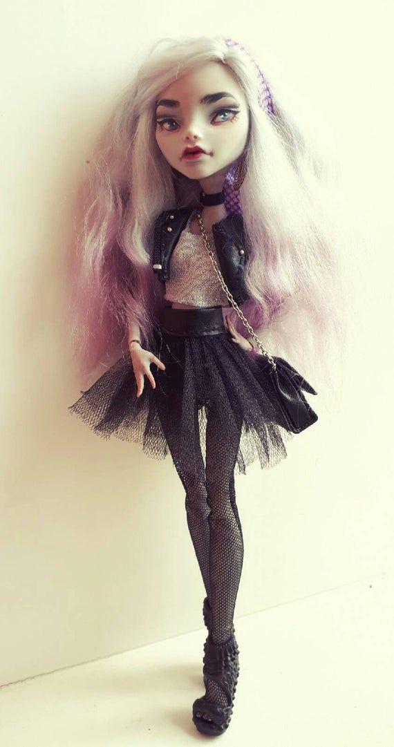 OOAK monster high custom doll. Ghoolia repaint / reroot. Handmade clothes for MH doll. Fashion doll #ooakmonsterhigh