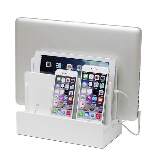 High Gloss White Multi Device Charging Station And Dock Multi Charging Station Charging Station Organizer Charging Station
