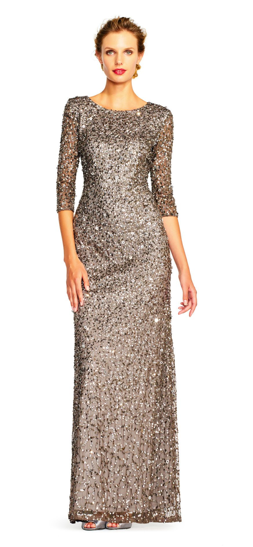 Scoop Back Sequin Gown   Gowns   Pinterest   Adrianna papell ...