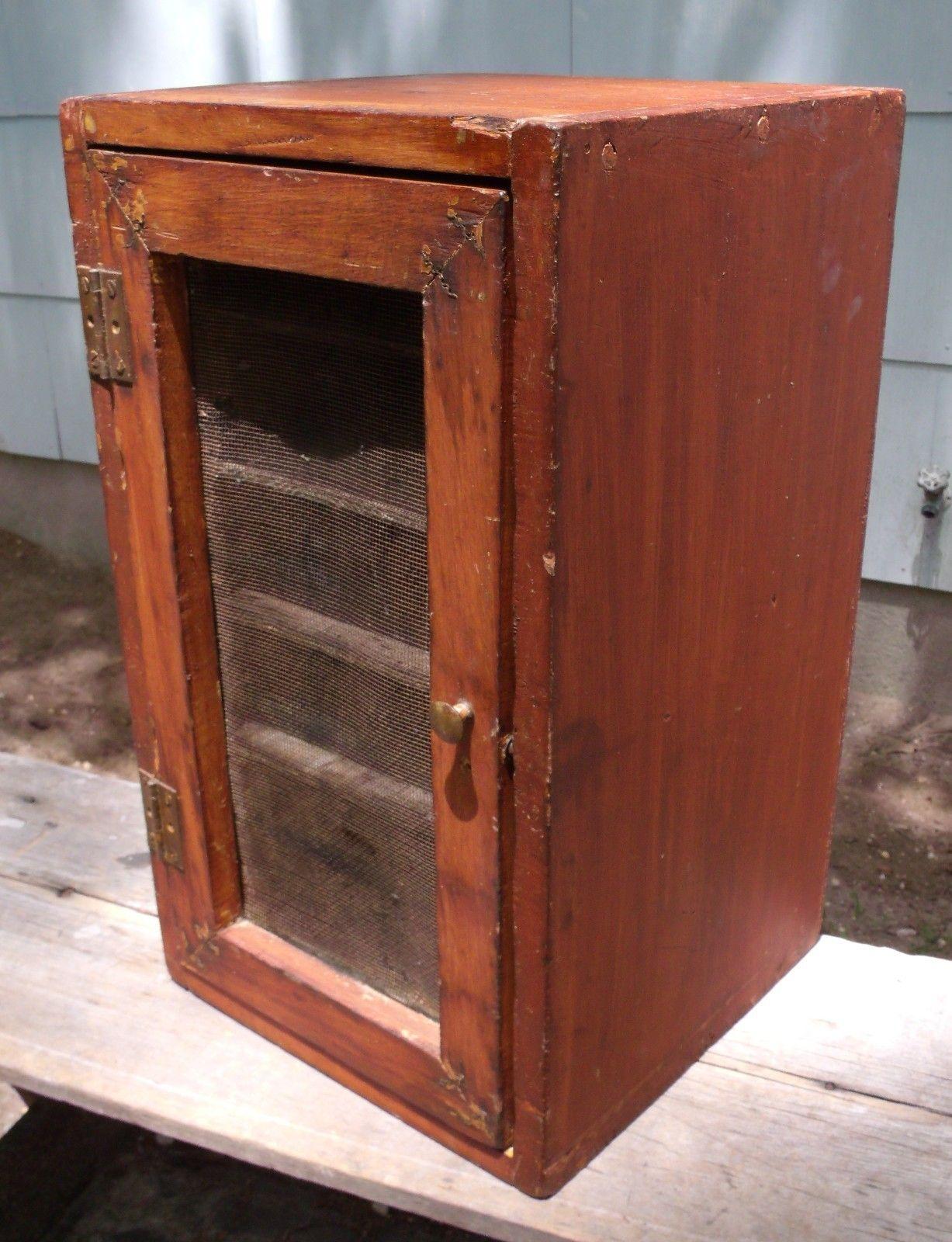 Antique wooden pie safe wood kitchen cabinet keeper primitive ...