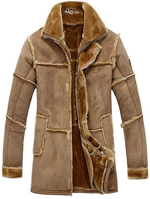 e2348941a7 YYZYY Men s Winter Thick Warm Vintage Suede Sheepskin Jacket Faux Fur  Leather Jacket Cashmere Shearling Long Coat Luxury Overcoat Ladies Women  (EU UK ...
