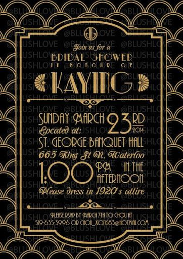 Great Gatsby Bridal Shower Invitation Digital file by blushlove