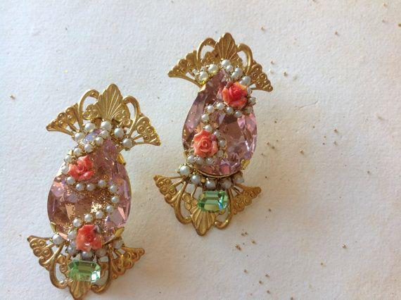 Huge pink cristal statement earrings, Duchess Rose,pink  swarovski ,porcelain roses ,pearls