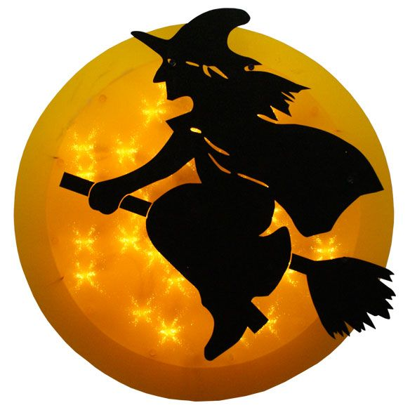 14 Inch Lighted Witch In Moon Halloween Window Decoration At