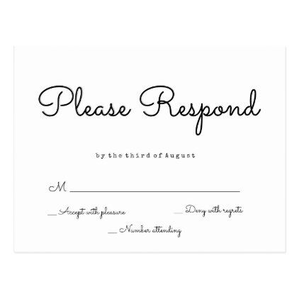 wedding #responsecards - #Simple response wedding rsvp postcards - wedding response postcards
