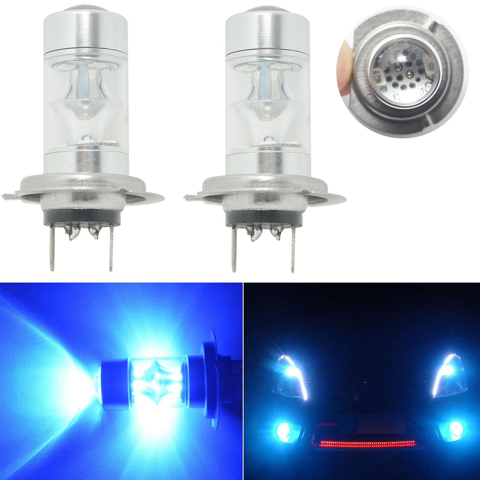 2pcs Car H7 Car Led Fog Light 2323 60w Driving Projector Drl 10000k Ultra Blue Bulbs Led Fog Lights