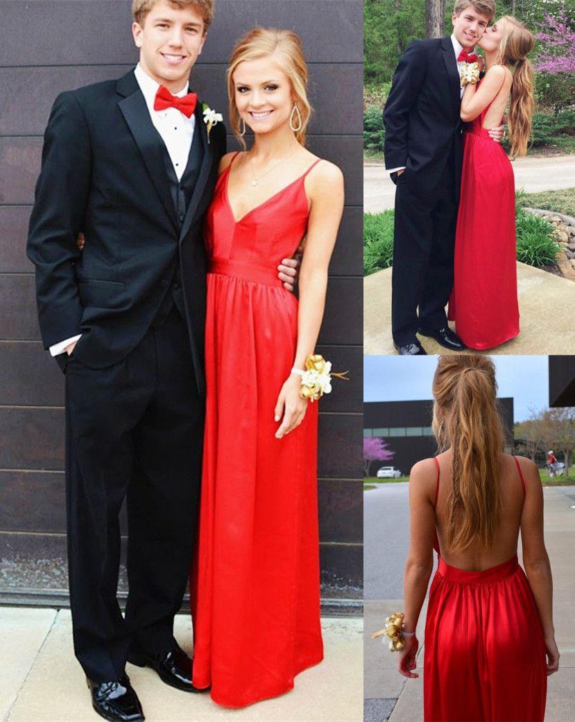 Aline vneck sleeveless floorlength backless red prom dress with