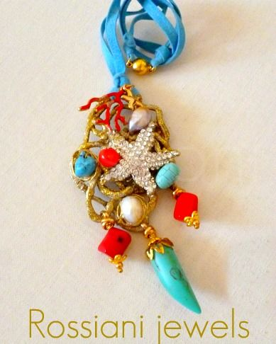 Silver seastar, Tropical line - coral, turquoise, mixed stones and pearls - Rossiani Jewels - Italian handmade jewels - Made in Italy