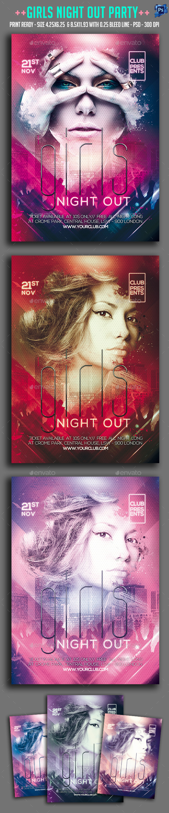 Girls Night Out Party Flyer Template Psd Promote Download Http