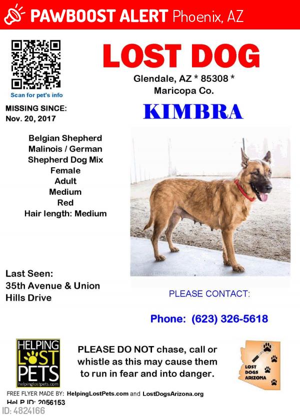 LOST Kimbra LAST SEEN November 20, 2017 Phoenix, AZ 85308