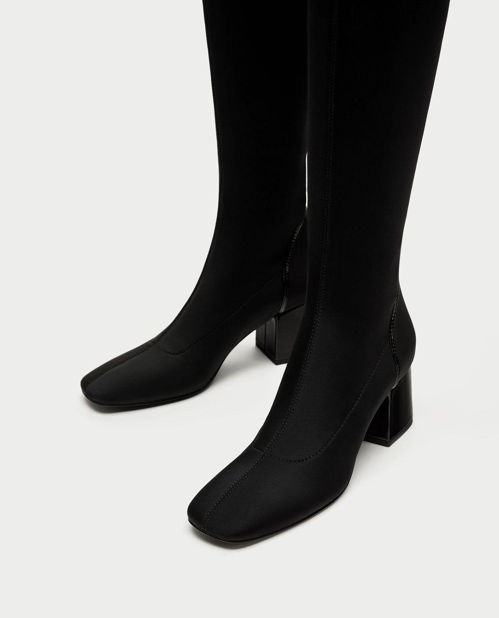 Diz Ustu Yuksek Topuklu Kumas Cizme Cizme Ayakkabi Kadin Zara Turkiye Cizmeler Topuklular Zara