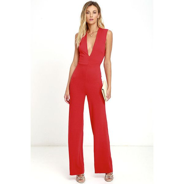 Cat's Meow Red Jumpsuit ($49) ❤ liked on Polyvore featuring ...