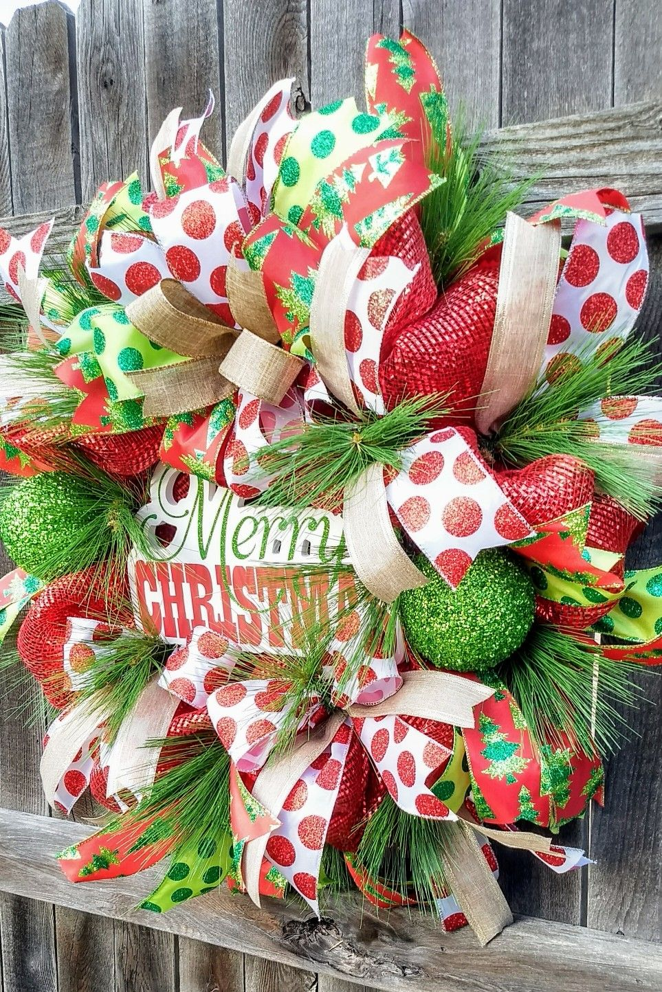 deco mesh christmas wreath in red and lime green visit the greeting door on etsy
