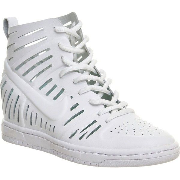 NIKE Dunk sky hi cut-out leather wedge trainers (255 CAD) ❤ liked on  Polyvore featuring shoes 280b0d852082