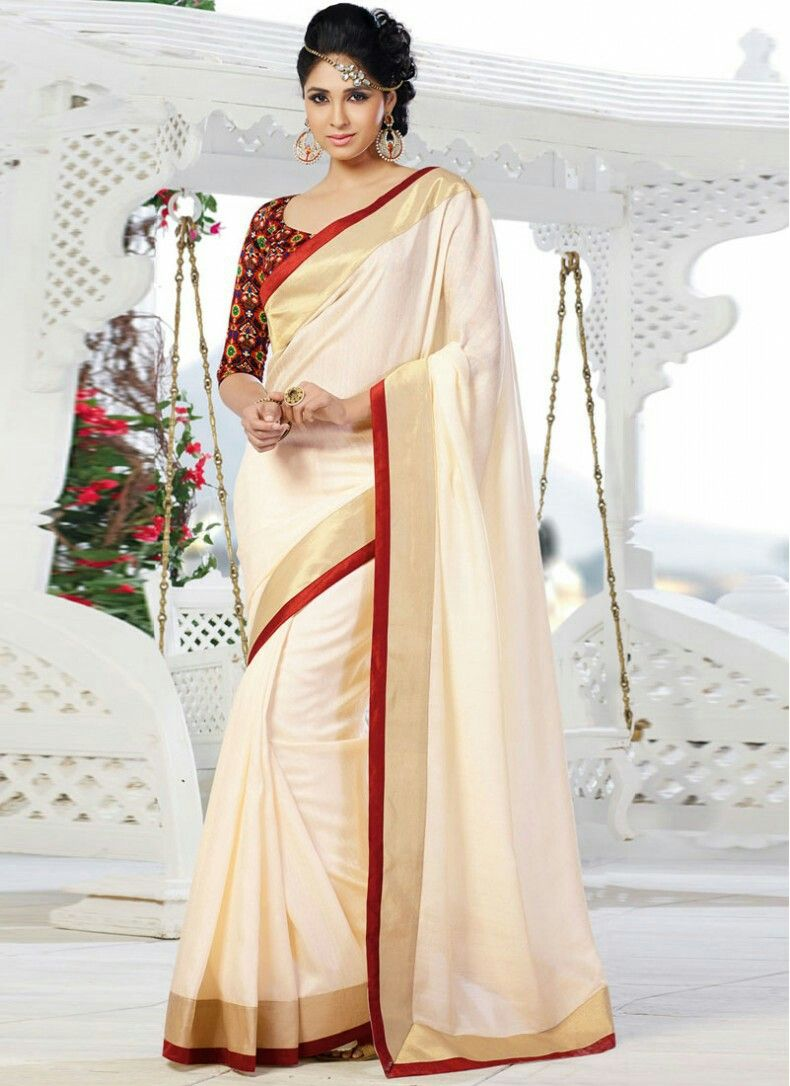 e5847bee32aa6 Off white saree with red border