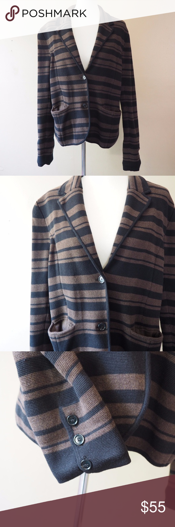 LOFT Black Brown Striped Double Button Sweater | Ann taylor loft ...