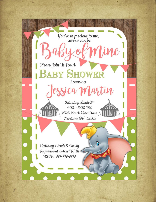 DIY PRINTABLE Baby Shower Invitation Baby of Mine | Dumbo Baby ...