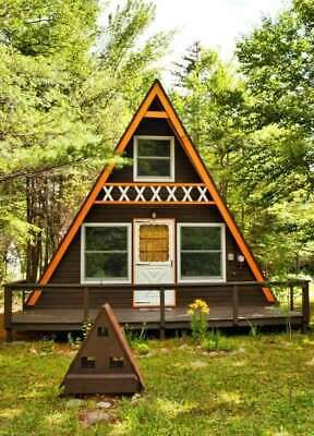A-Frame Wood Cabin Plans DIY Two Story Tiny House Log Cabin Vacation Home 24x21'  | eBay
