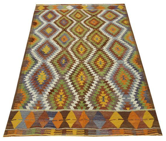 Anatolian Vintage Kilim rug 75x52 feet Area rug by TurCollection