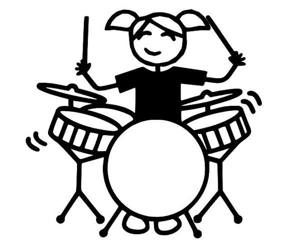 Female Drummer Decal Drummer Decal Woman Drummer