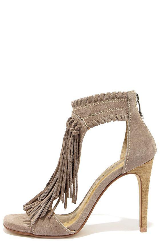 b8adb31521 Chinese Laundry Santa Fe Grey Suede Leather Fringe Sandals at Lulus.com!