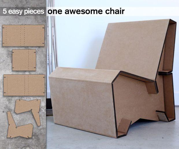 5 Piece Cardboard Lounge Chair Cardboard Chair Diy Cardboard Furniture Cardboard Design