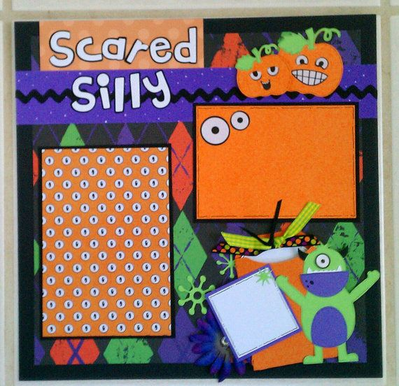 Scared Silly 12x12 premade scrapbook layout page by ohioscrapper, $15.00