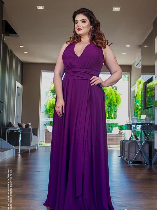 6385f7dcb650f Dicas de onde comprar ou alugar vestidos de festa plus size (para  madrinhas, formandas e mãe da noiva (o) vestido de festa plus size violeta