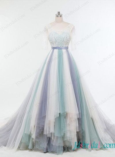 Teal Tulle Wedding Dress