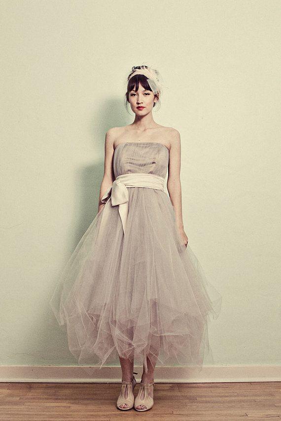 Strapless Tea Length Tulle Formal Dress by ouma on Etsy, $900.00 ...