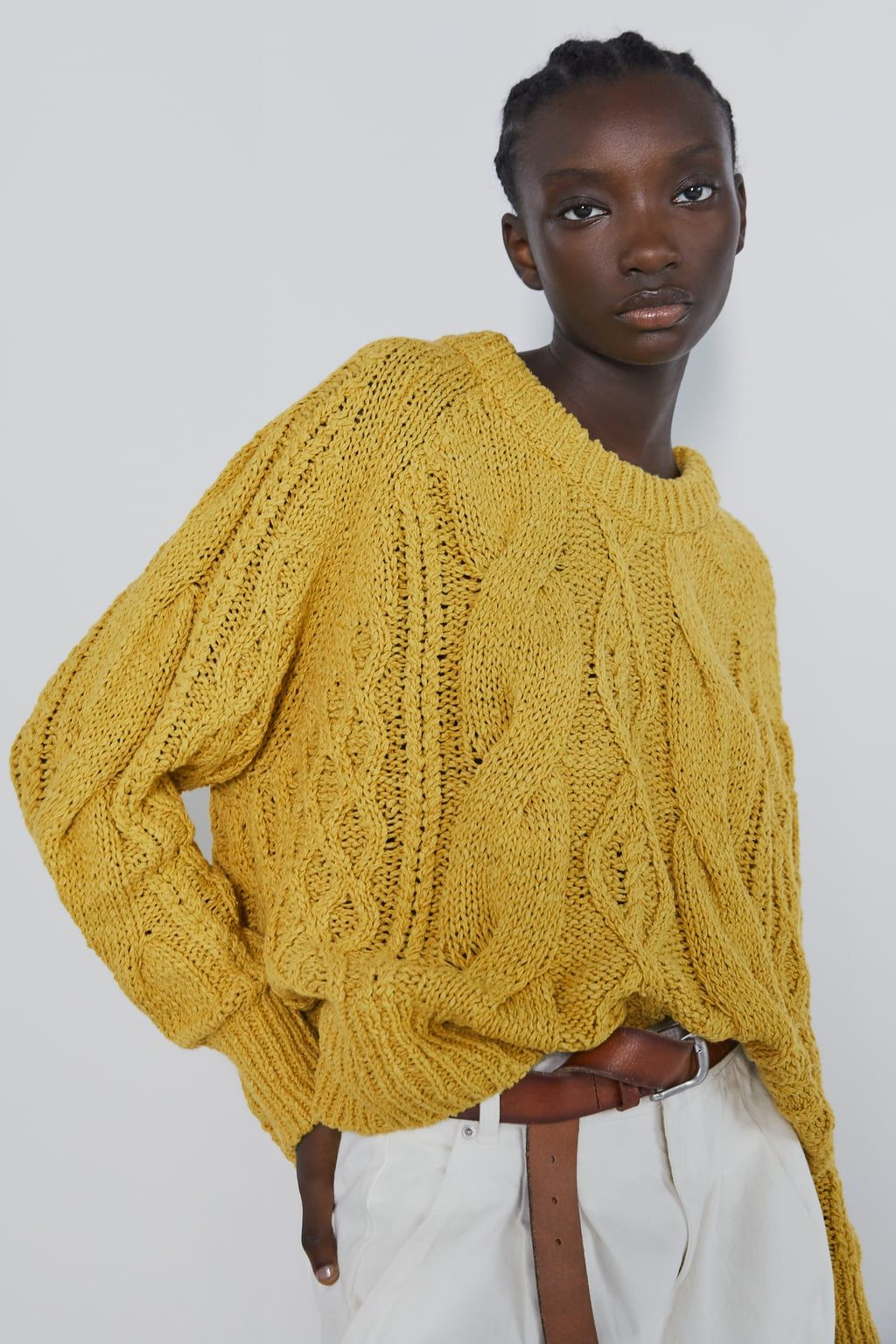 ZARA MUSTARD YELLOW CABLE KNITTED RIBBED OVERSIZED DOUBLE V NECK SWEATER JUMPER