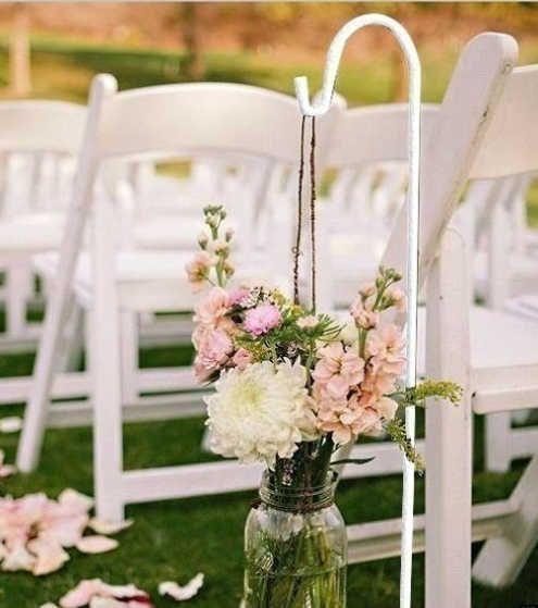 Outdoor Wedding Ceremony No Music: 6 White Shepherd Hooks Outdoor Wedding Aisle Reception