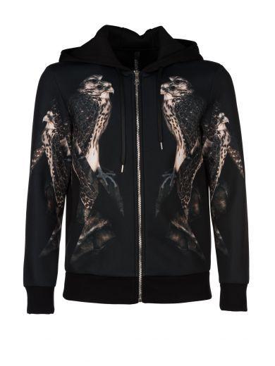 NEIL BARRETT Neil Barrett Zipped Bird Print Hoodie. #neilbarrett #cloth #fleeces-tracksuits