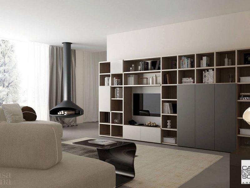 Mobile da soggiorno moderno,libreria a terra collezione ...