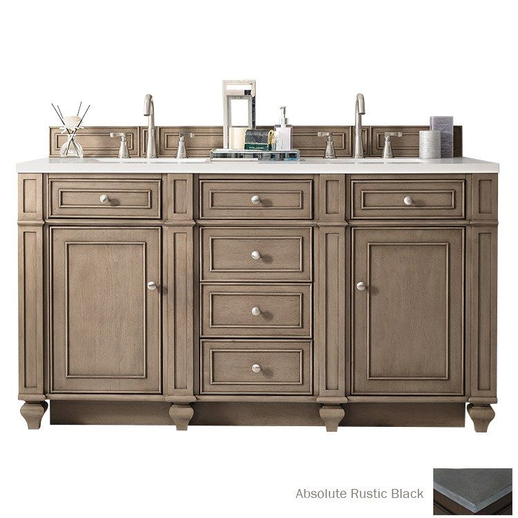 James Martin Furniture 157 V60d Ww Bristol 60 White Washed Walnut Double Vanity Without Top Double Vanity Traditional Bathroom Double Sink Bathroom