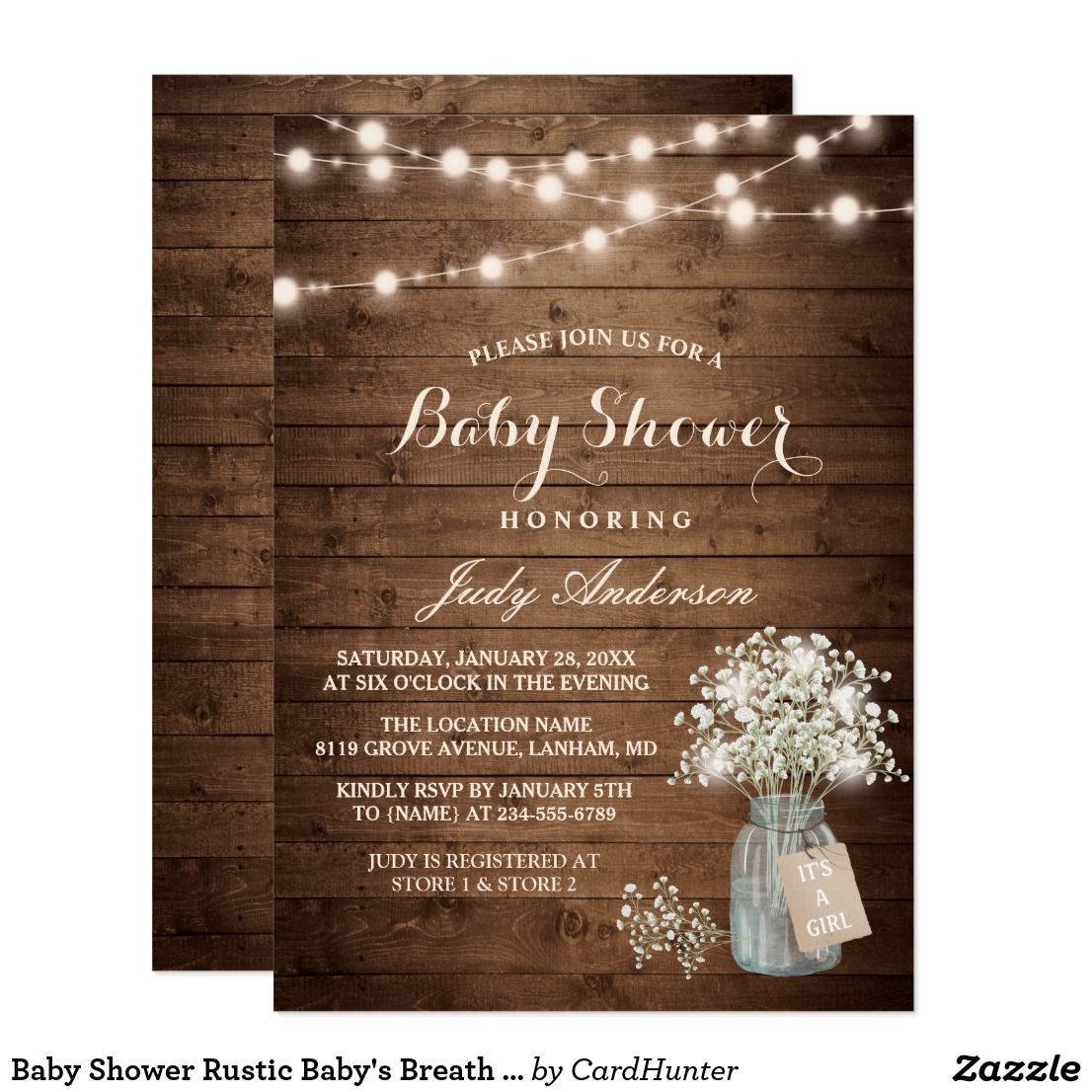 baby shower rustic baby's breath floral mason jar card | rustic baby, Baby shower invitations