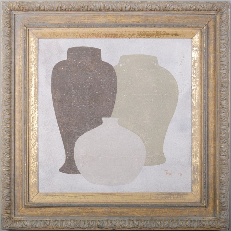 3 square - Original acrylic painting on wood in antique frame by Peter Woodward