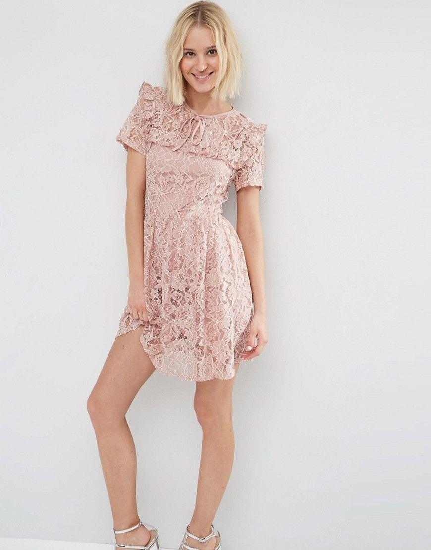 c601d082628 Image 1 of ASOS Lace Ruffle Yoke Skater Dress