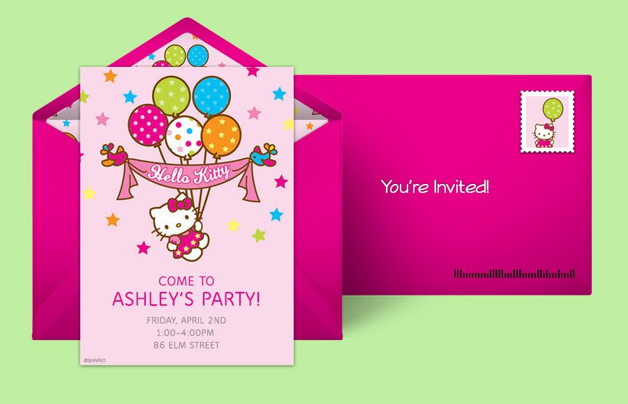Free Hello Kitty Birthday Invitations Kids Hello Kitty