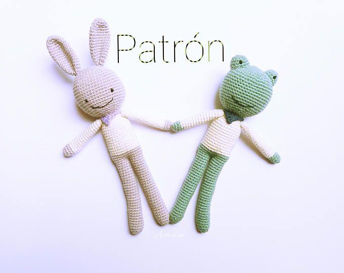 Patrón amigurumi Conejo,Patrón crochet Rana,Conejo crochet patrón ...