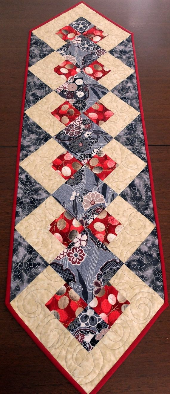 Patchwork quilted red black and cream table runner by for Table runner quilt design
