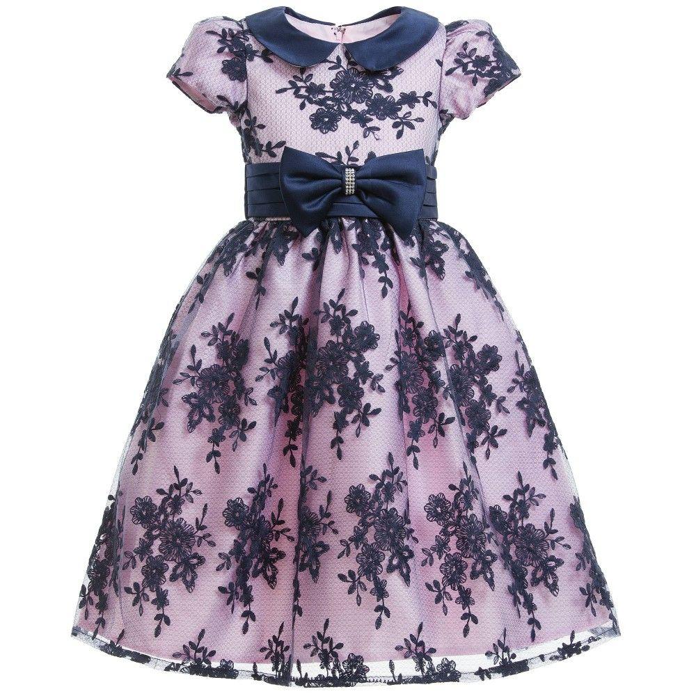 Pink & Navy Blue Lace Dress & Bow | Vestidos niña y Vestiditos
