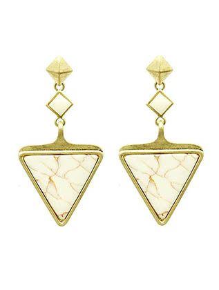 White Stone Triangle Earrings from Helen's Jewels