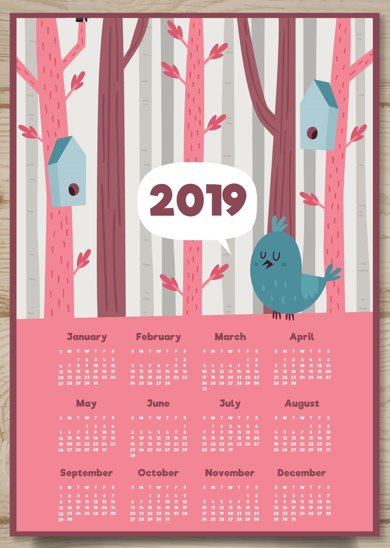 Cute 2019 Printable Desk Calendar Monthly Calendar Templates
