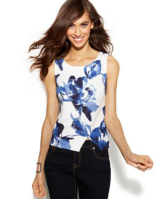 INC International Concepts Printed Layered Tank Top