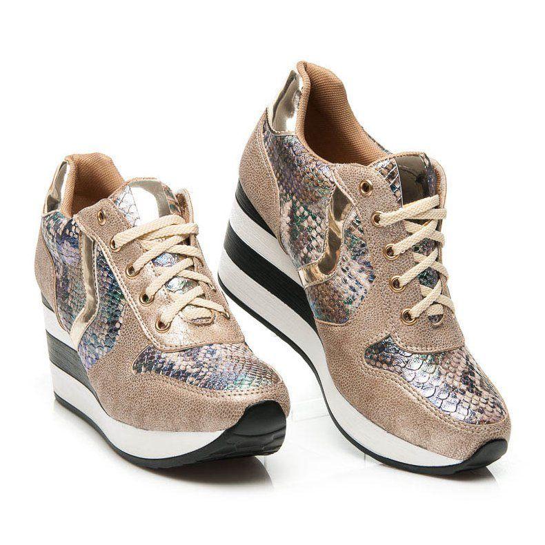 Sergio Todzi Sneakersy Na Koturnie Zolte Tie Shoes Women Shoes Top Sneakers