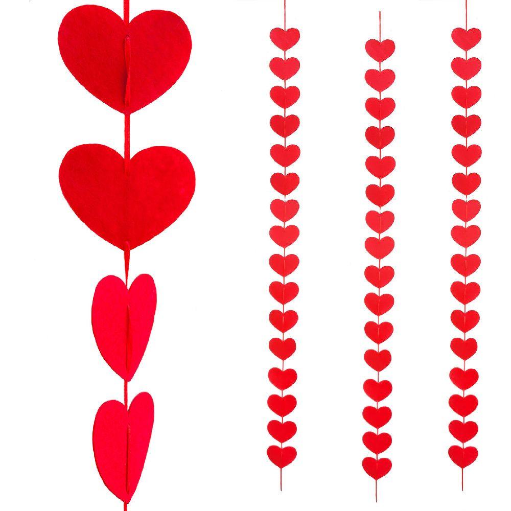 3 Deckenh Nger Herz Girlande Hochzeit Rot