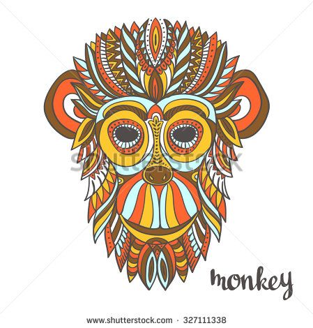 Stock Vector Ornamental Monkey A Symbol Of New Year Ethnic Style For