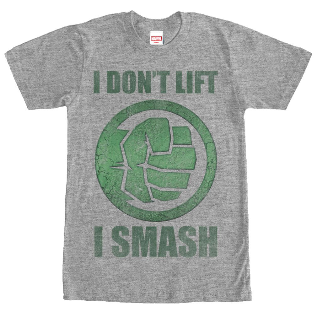Join the Hulk at the gym to de-stress with the Marvel Hulk Smash Heather  Gray T-Shirt. This funny gray Hulk shirt is a perfect motivator with