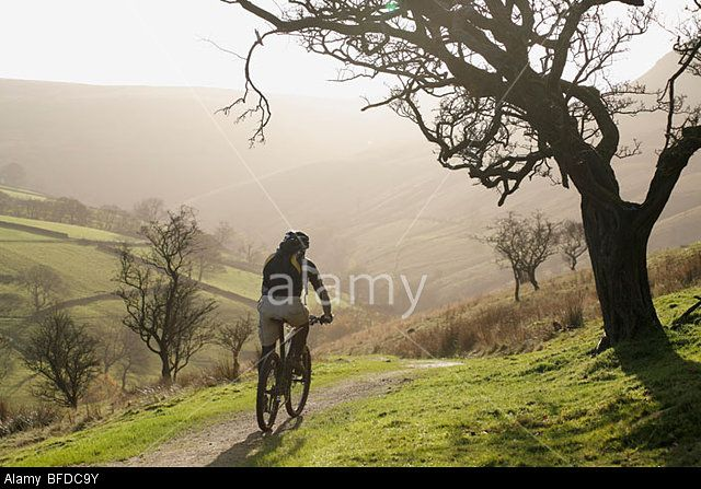 A Man Rides His Mountain Bike Through The English Countryside